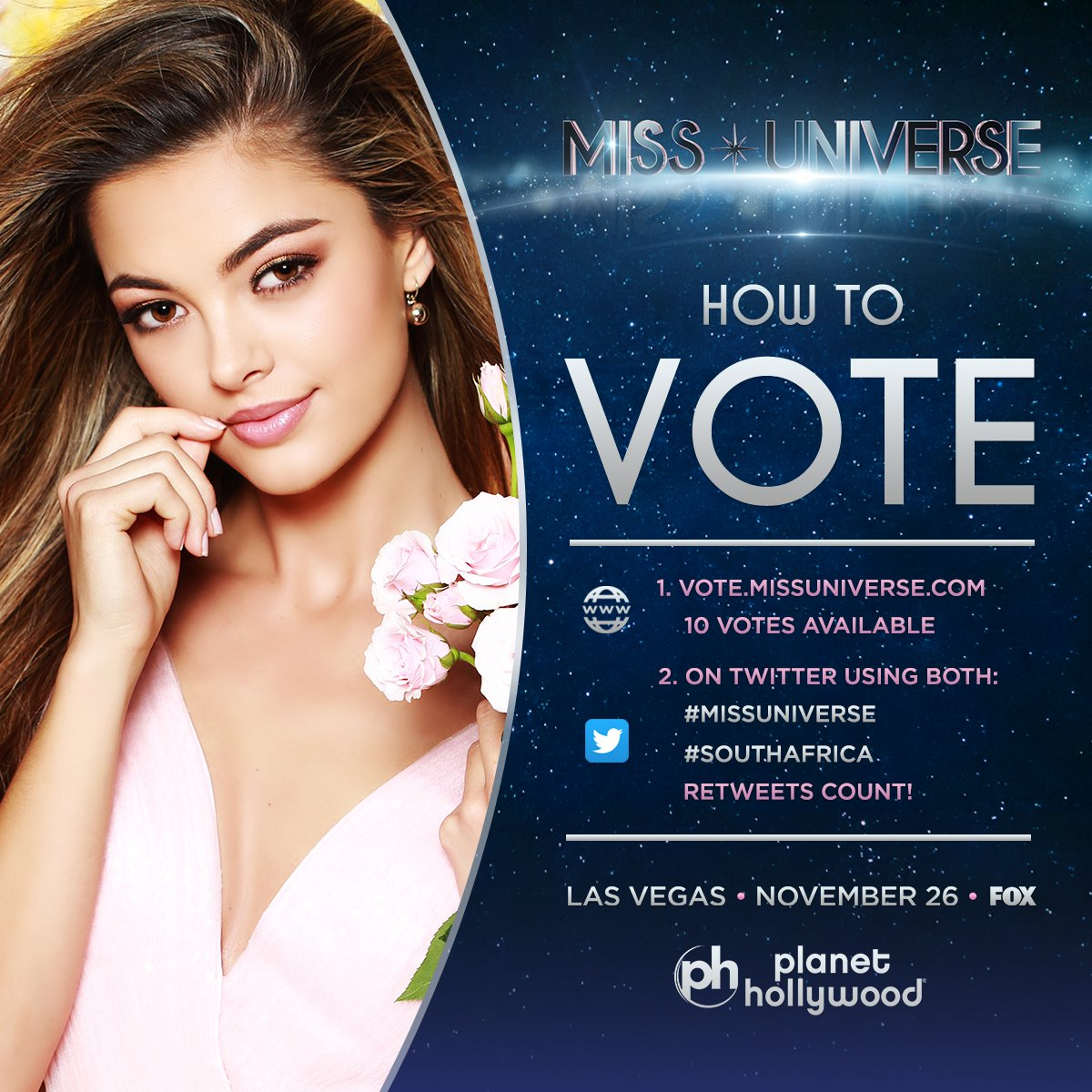 RT @GIven_madisei: #countryDuty  vote or RT #MissUniverse  #SouthAfrica https://t.co/23O7x5zvrh