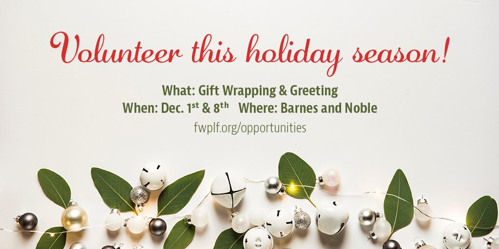 Come hangout with us and get into the holiday spirit by volunteering! #NonProfit #Libraries  #FWPLF  http:// fwplf.org/opportunities  &nbsp;  <br>http://pic.twitter.com/F0xhjwmJPS