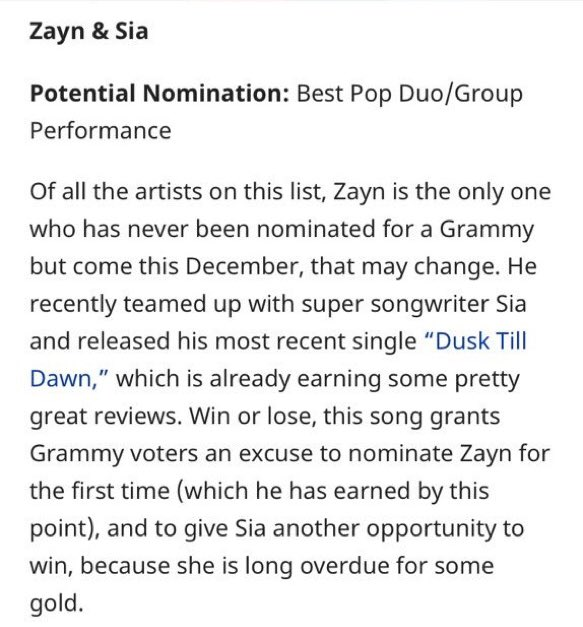 #New | @zaynmalik Mentioned as Potential Nomination for the Grammys, with his @Sia collab #DuskTillDawn  -Via @Forbes  https://www. forbes.com/sites/hughmcin tyre/2017/09/20/zayn-sia-sam-smith-more-lead-the-potential-last-minute-grammy-submissions/ &nbsp; … <br>http://pic.twitter.com/UucJGQDpFy