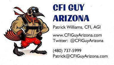 Patrick K. Williams AKA CFI GUY ARIZONA, #CertifiedFlightInstructor, #CommercialPilot, #CharterPilot, #FerryPilot, #AdvancedGroundInstructor.  Call me for flight training, flights over #Phoenix #Scottsdale #Glendale #EastValley #Arizona or any other avia…<br>http://pic.twitter.com/QGZGsSpH6q