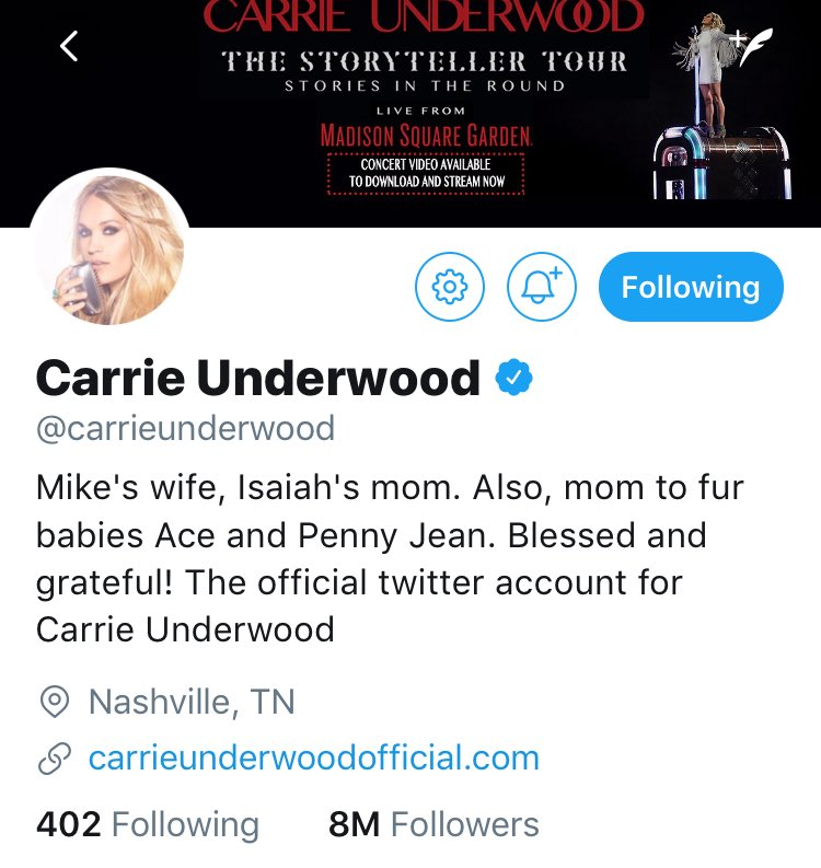 @carrieunderwood Congrats on 8 Million twitter followers!!! #queen <br>http://pic.twitter.com/mQeBfKQsyW