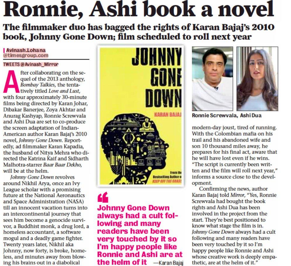 ... Karan Bajaj's 2010 novel Johnny Gone Down ...
