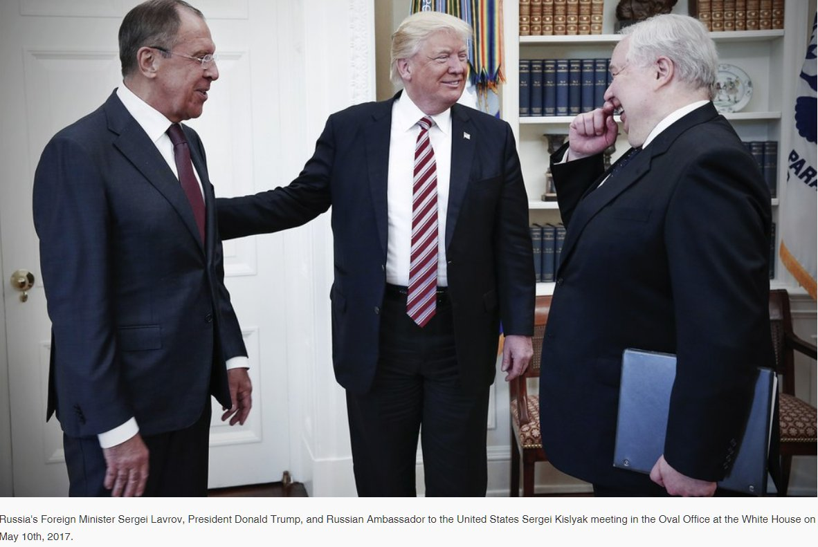Vanityfair Exclusive claims president #Trump betrayed #Israel and his intelligence community by leaking content of a classified, and highly sensitive, #Israeli intelligence operation to two high-ranking Russian envoys, Sergey Kislyak and Sergey Lavrov  https://www. vanityfair.com/news/2017/11/t rump-intel-slip &nbsp; … <br>http://pic.twitter.com/SjxIQRm6wb