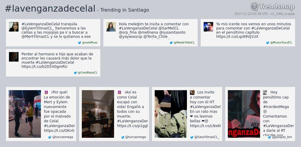 #lavenganzadecelal es ahora una tendencia en #Santiago  https://t.co/n2pHm5AU5z https://t.co/aI5Fx1X7jr