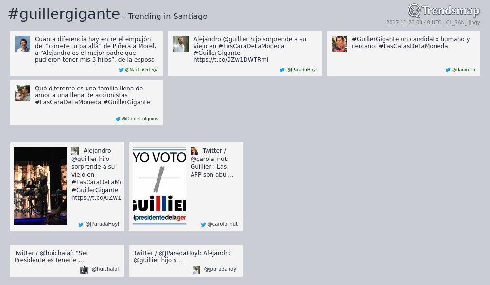 #guillergigante es ahora una tendencia en #Santiago  https://t.co/0CfG5QFHS6 https://t.co/i65OnlGMf0