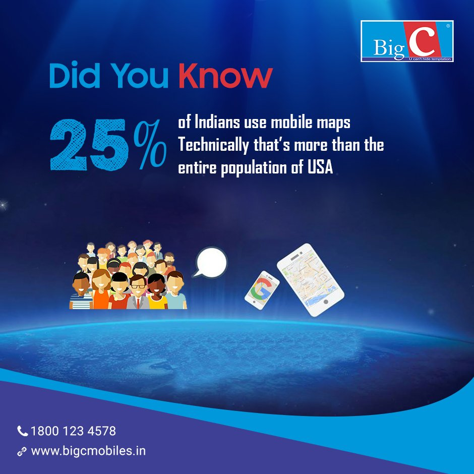 #DidYouKnow  25% of Indians use mobile maps.  Technically that&#39;s more than the entire populations of USA #BigCMobiles<br>http://pic.twitter.com/NcI6gloZIg