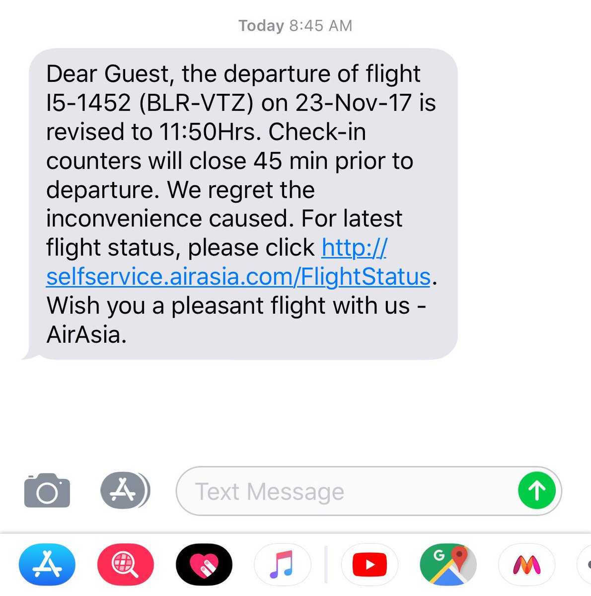 @AirAsia @AirAsiaSupport 9:05 am flight #delayed by 3 hours #informed 15 min prior #departure #badcustomerservice #lastflightwithairasia #gotohell #connecting #train #missed #neverflywithairasia <br>http://pic.twitter.com/KsZJeagA7q