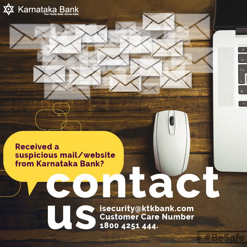 Karnataka Bank shall never call or mail asking you to share sensitive details about your account #BeSafe #SecurityTips<br>http://pic.twitter.com/30LF3RpwJL