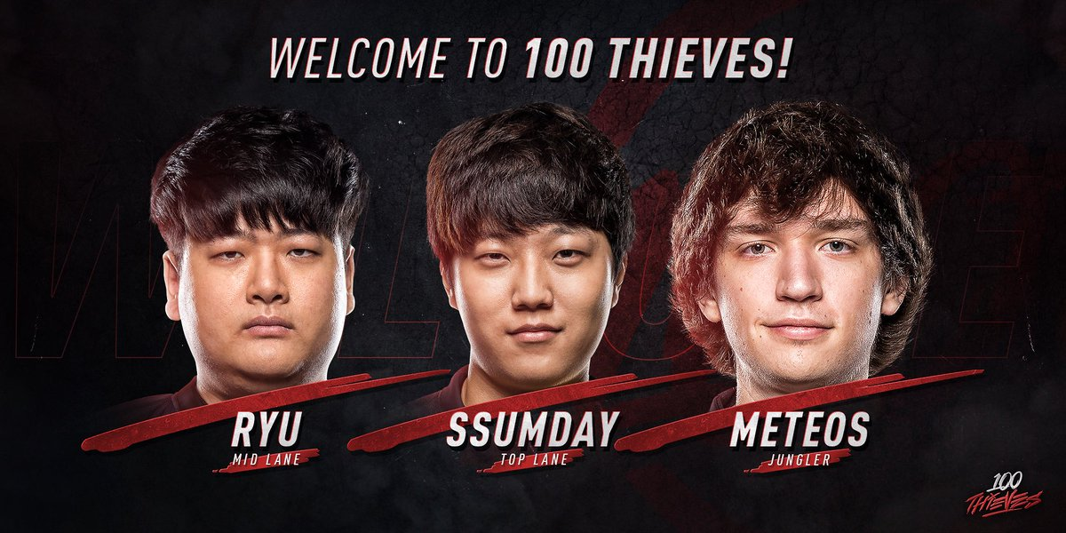 "100 Thieves on Twitter: ""This season of LCS is going to be a whole lot of  fun. We're beyond thrilled to announce @ssumday22, @RyuL0L, and @c9_meteos  have ..."