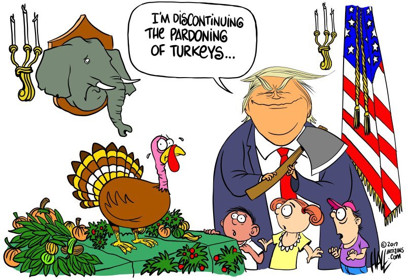 Both the #elephant and the #turkey ought to be very (no, seriously -- I mean, very) #THANKFUL this #Thanksgiving because the orange one could always rescind his pardon if he doesn&#39;t feel that HE ALONE could did it. #Pardon #turkeypardon<br>http://pic.twitter.com/WzHrwkv6pg