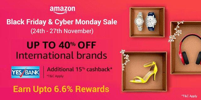 #BlackFriday Amazon Black Friday &amp; Cyber Monday Sale Upto 40% Off + Extra 10% YES Bank Cashback along with Extra Zingoy #Cashback Visit &amp; Explore  http:// bit.ly/2jfWoK5  &nbsp;  <br>http://pic.twitter.com/dj0fD7zG6O