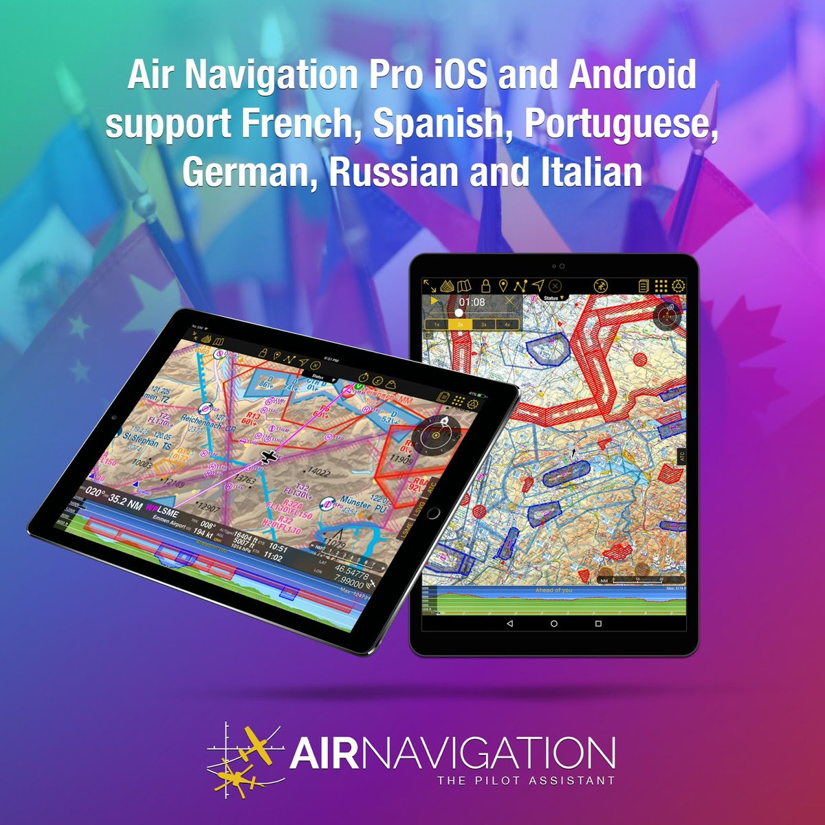 Awesome news! Support in French, Spanish, Portuguese, German, Russian and Italian are available for Air Navigation Pro iOS and Android. For more information, check out:  http:// blog.airnavigation.aero/2017/11/additi onal-language-support-for-air.html &nbsp; …   #avgeek #aviation #avapp #flightplanning #flightapp #pilotapp<br>http://pic.twitter.com/yrL6aOd3KW