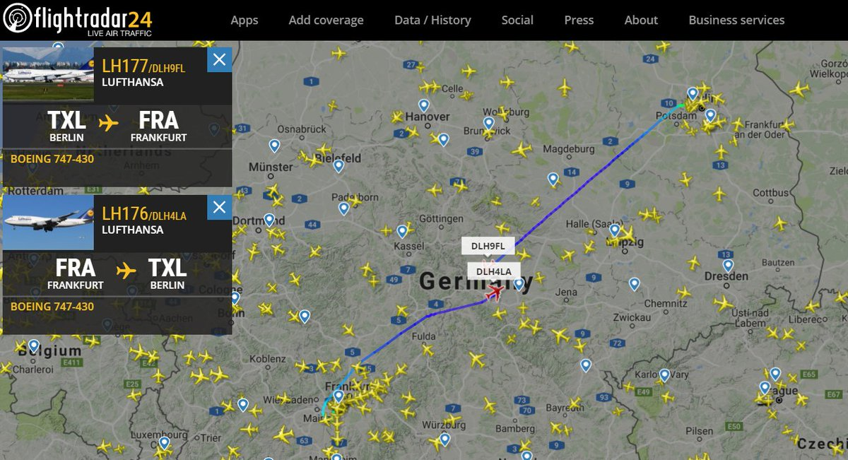 Special flight service by #Lufthansa due to service stop by #airberlin  Enjoy #747 short-haul flights #TXL to #FRA and back - THX @flightradar24<br>http://pic.twitter.com/YJIgADOcRs
