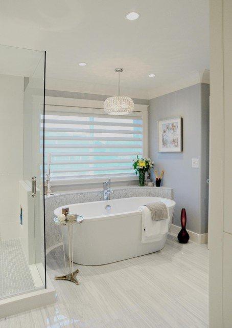 This gorgeous dream bathroom includes both a walk-in shower enclosure and beautiful freestanding bathtub. #InteriorDedign #BathroomDesign <br>http://pic.twitter.com/UisGZ0e4kK