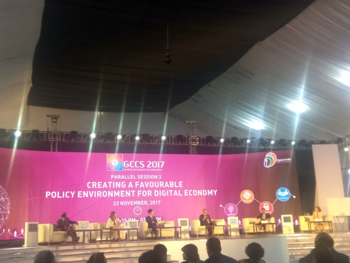 Discussion on Creating a favourable policy environment for #DigitalEconomy  With @debjani_ghosh_  @gccsofficial #GCCS2017  @nasscom @DSCI_Connect <br>http://pic.twitter.com/3Ig68b4L87