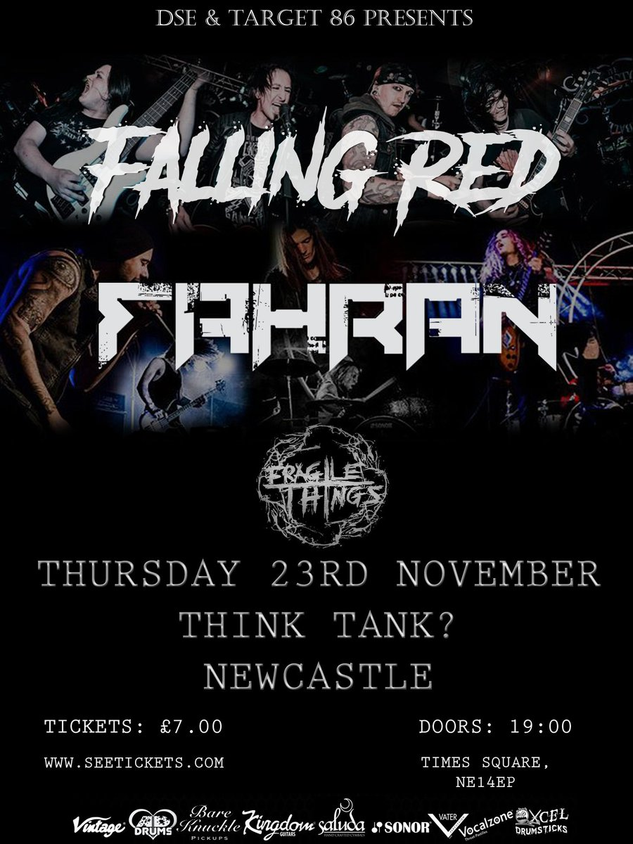 Tonight we play #Newcastle @wearethinktank with @FallingRed @FragileThings_ <br>http://pic.twitter.com/G9Rhb10MPn