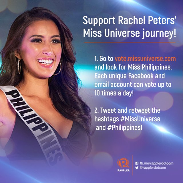 Show your support for #MissUniverse #Philippines @rachelpetersx! Retweet away!   How else can you help Rachel?  READ: https://t.co/dKhnee13E2
