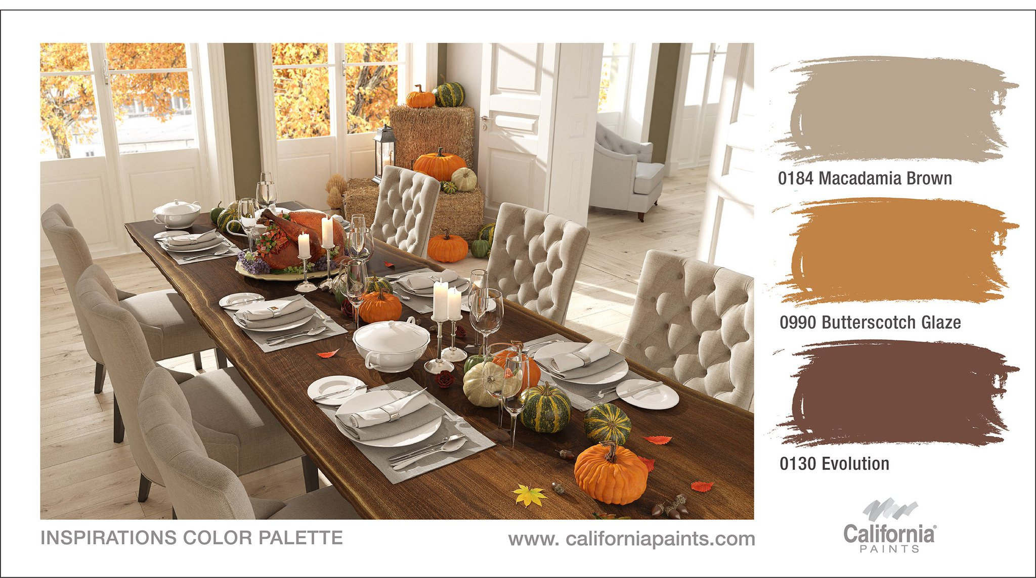 Icp Building Solutions Group On Twitter From Our Table To Yours Happy Thanksgiving Californiapaints Inspirations 0184 Macadamia Brown 0990 Butterscotch Glaze 0130 Evolution Https T Co R4yqhuoc0e