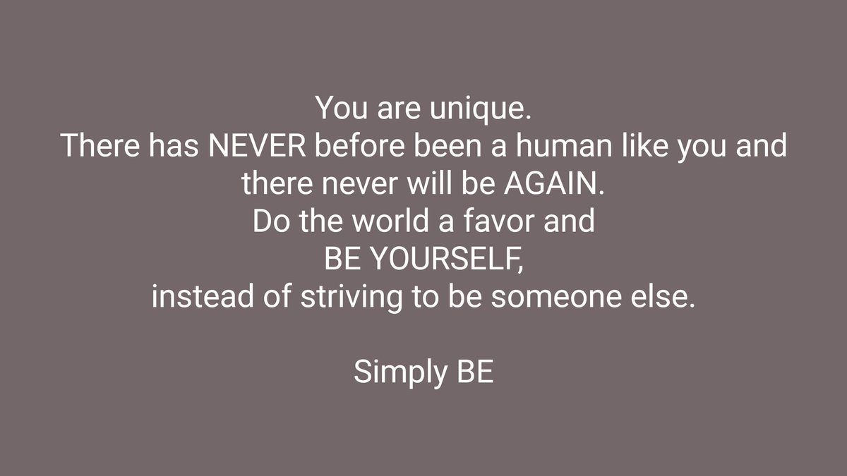 You are Unique... Simply BE https://t.co...
