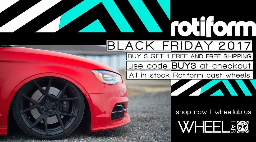 We are extremely excited to share our #BlackFriday deal of Buy 3 Get 1 Free on all in-stock cast #Rotiform  wheels.   Use promo code BUY3