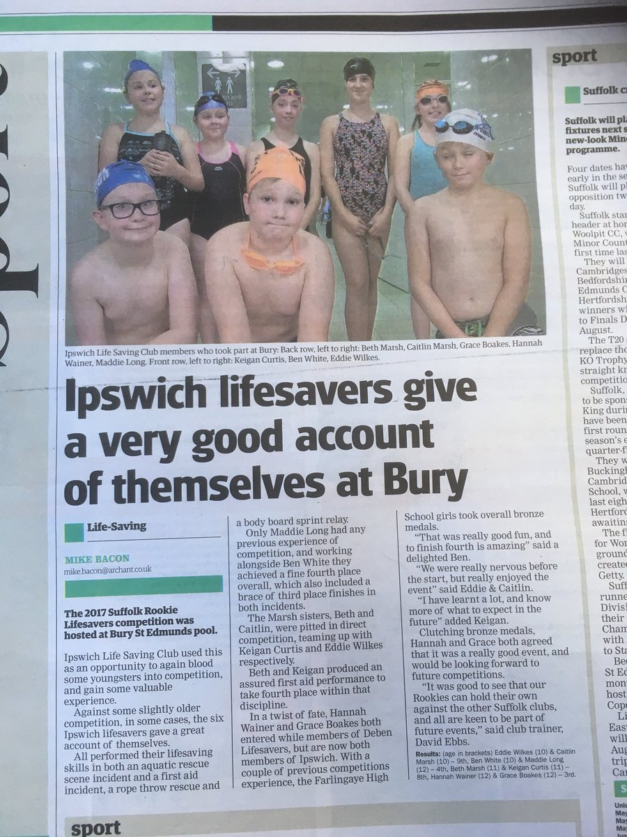 More great coverage in today's @ipswichstar24 from @Mike_Bacon @EADTsport24 for our #Rookie #Lifeguards #lifesaving #swimming #CPR #FirstAid  Join us on Fridays at Fore Street Pool from 7pm <br>http://pic.twitter.com/JsoTNxDlKb