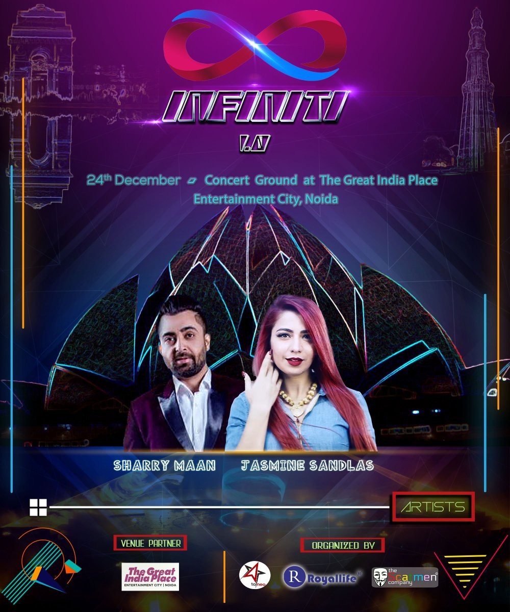 Groove with @SharryMann and @JasmineSandlas at INFINITY at Concert Ground, #TheGreatIndiaPlace, Entertainment City, Noida on 24th December. Book your #tickets today!  http:// tinyurl.com/y7okp7d7  &nbsp;  <br>http://pic.twitter.com/tOHDbTDCuI