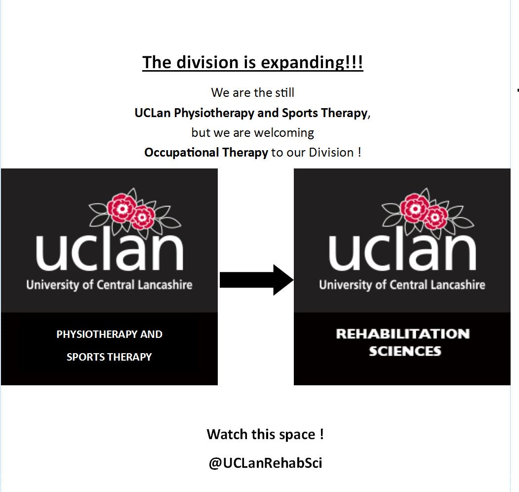 NAME CHANGE ! WE ARE EXPANDING - @UCLanPaST to @UCLanRehabSci ! #expanding #therapy #occupationaltherapy #physiotherapy #sportstherapy<br>http://pic.twitter.com/u6SX4zgUWx