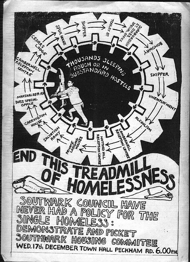 Southwark protest for single homeless, from the 80s, designed by James Nelson AKA Mick the Punk. An amazing circular map of the single homeless journey through institutions