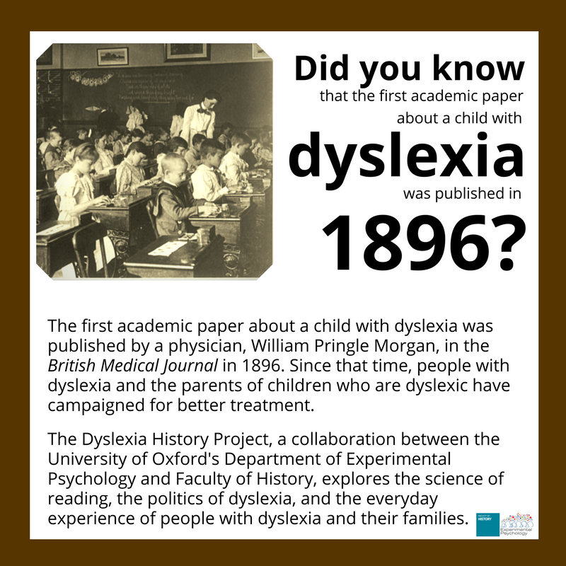 The History Of Dyslexia >> Oxford Exppsychology On Twitter Nov 22 Dec 22 Is Uk Disability
