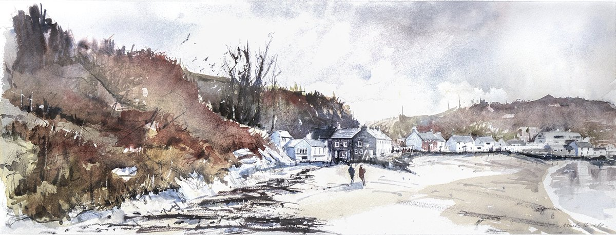 Best pub on a beach, The Ty Coch Inn on the Llyn Peninsula, Porth Dinillaen. Finished painting based on plein air sketch. Painted on Saunders Waterford cold pressed with Daniel Smith paints. #Watercolour #Wales #PorthDinllaen #Snowdonia<br>http://pic.twitter.com/1kePi8VIy3