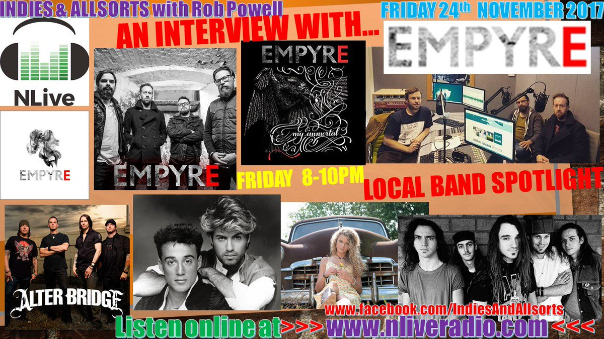 TODAY 8-10PM @NLiveRadio come hear the @EmpyreRock takeover of #IndiesAndAllsorts.  There&#39;s an interview &amp; chat with the local band as well as 6 fantastic tunes from them.  Don&#39;t miss it!  http://www. nliveradio.com  &nbsp;    #music #radio #rock #Northampton #localmusic<br>http://pic.twitter.com/SJotb5Pp3x