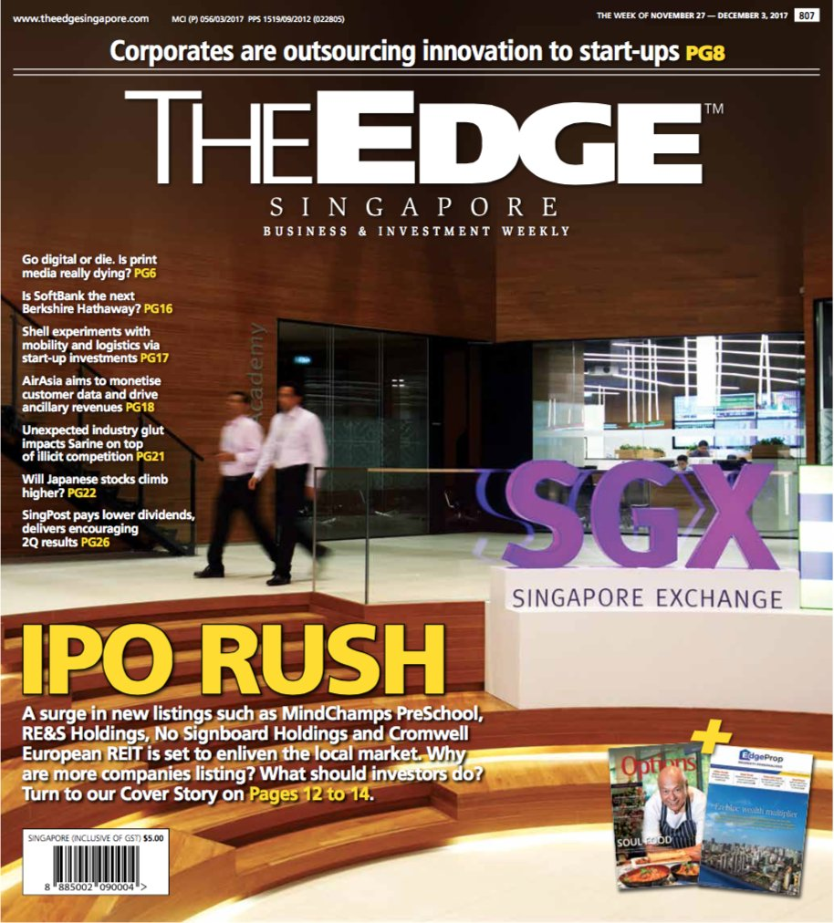 The surge in #IPOs in #Singapore. #Outsourcing #innovation to #startups. What&#39;s next for #SoftBank? Riding #Japan #stocks with #ETFs. #TheEdgeSingapore @The_EDGE_SG<br>http://pic.twitter.com/FrTpyXqkgV