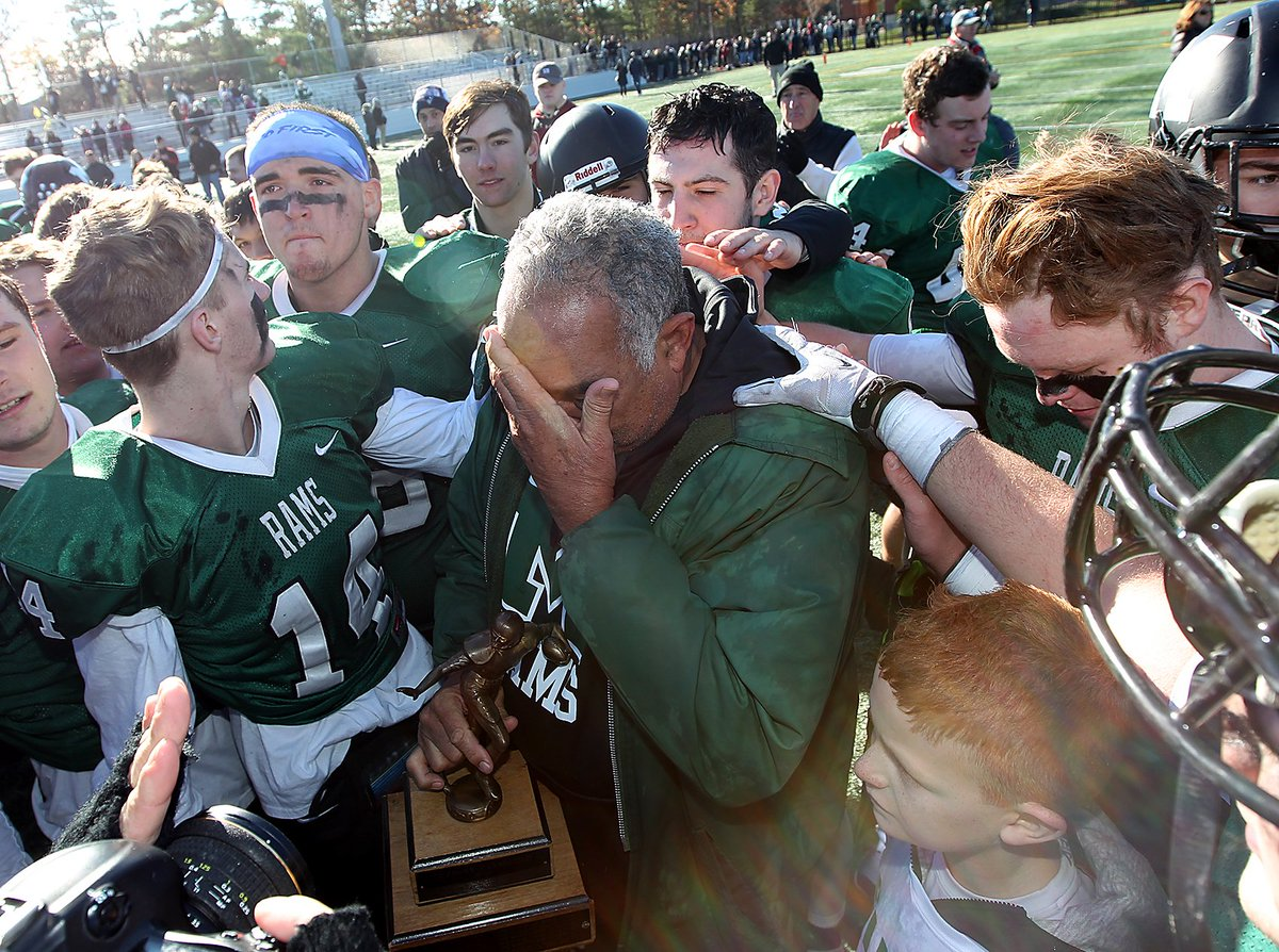 Head coach Lou Silva is overcome with emotion following his final game as head coach of the Rams after 37 years at the helm. Rams beat Duxbury, 18-15, on Thanksgiving #legend #thankgsivingdayfootball #ramsnation #marshfield @ChrisMcDaniel88 @MarshfieldRams @MarshfieldTV<br>http://pic.twitter.com/lCUjt773qv