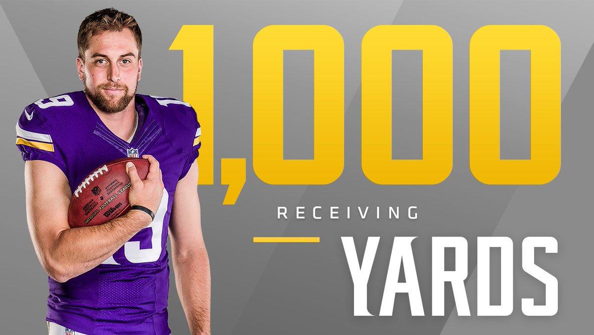 💯💯💯💯💯💯💯💯💯💯  @athielen19 becomes the #Vikings 1st 1,000-yard receiver since 2009. https://t.co/ZBhtMbmmOQ
