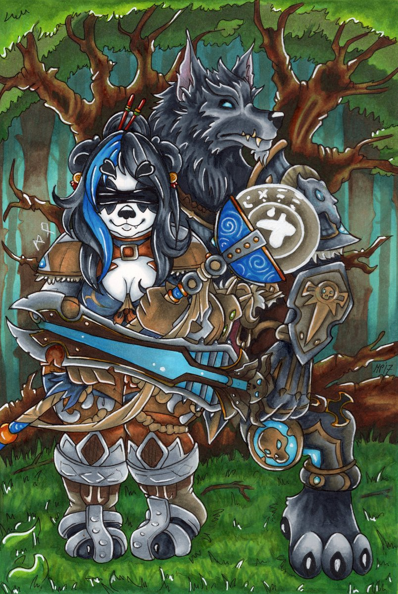 Comrades-in-arms!  Traditional art  Markers~ Commission for @MacellariusDK  #Art #Warcraft #Pandaren #Worgen<br>http://pic.twitter.com/pxrX5AkgWU