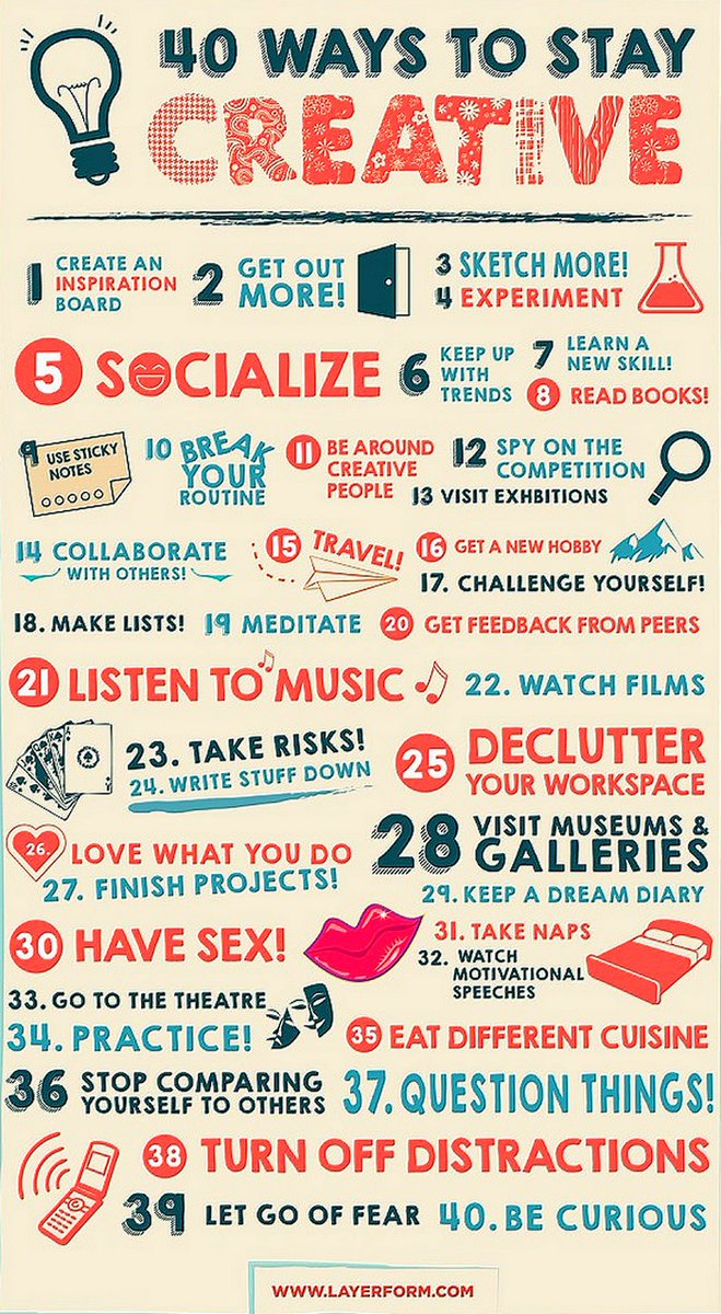 Growth Hacking: 40 Ways To Stay Creative   #DigitalMarketing #makeyourownlane #defstar5 #digital #marketing #SMM #content #SEO #growthhacking #innovation #mgvip #contentmarketing #socialmediamarketing #business #startup #infographics #twitter280 @abhiseoexpert<br>http://pic.twitter.com/GX0gqrXsvo