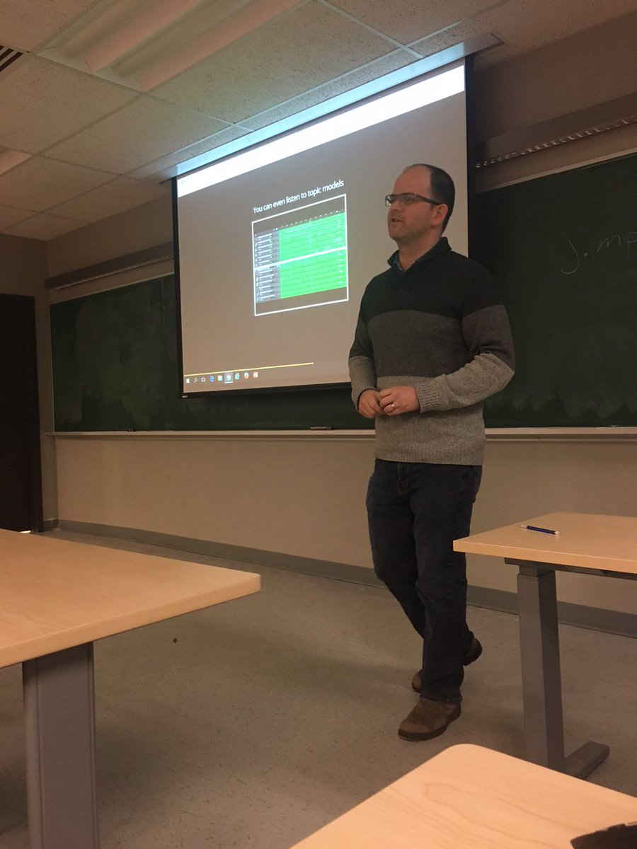 "TIM students got really lucky as they got a chance to learn about ""Topic Modeling and the Digital Humanities: Magical Methods for Finding Meaning&quot; from Associate Professor Shawn Graham last night. #TIMProgram #TopicModeling <br>http://pic.twitter.com/bMl9QtuU2e"