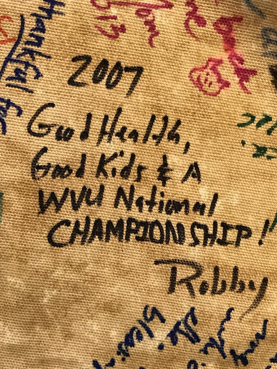 """My family has a """"Thanksgiving Cloth"""" where we write down something we're thankful for every year. This was my dad's a week before the infamous """"13-9"""" Pitt football game in 2007...  Little did we know. #WVU #WVUFootball<br>http://pic.twitter.com/aVhnAh6MM2"""