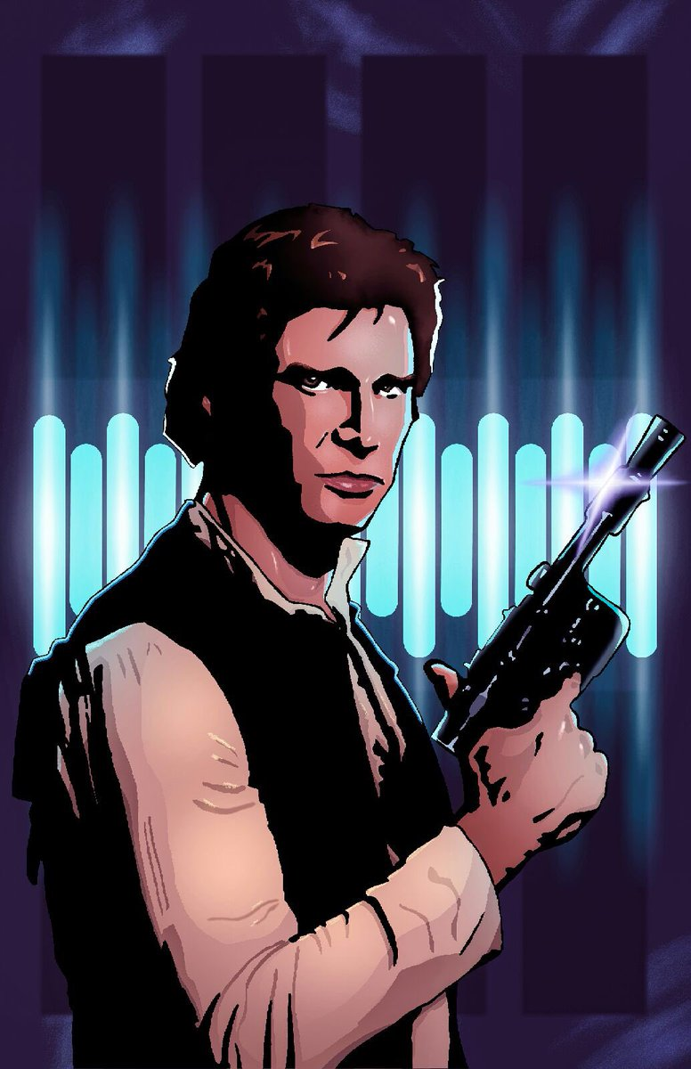 Q: What are the odds that @Ken_oloS did another cool digital color job, this time on my #HanSolo #StarWars piece?  A: Never tell me the odds.<br>http://pic.twitter.com/Yh2uwDalqf