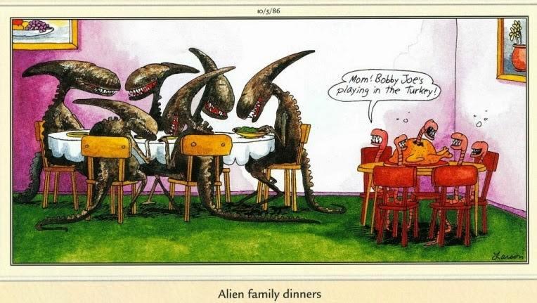 Happy Thanksgiving Everyone! An unusual family dinner by artist Gary Larson. #Alien #Xenomorph #Monster #Artwork #Illustration #Horror<br>http://pic.twitter.com/RAGZjqQzsq