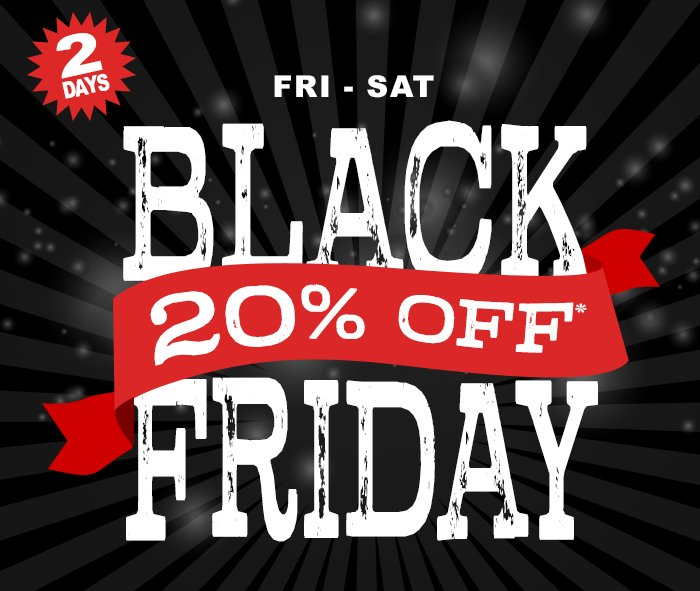Don't drive from store to store checking items off your list this Black Friday. Shop Lammle's and get deals all in one place with our Store-wide Sale! This Friday and Saturday save 20% off all your favorites.