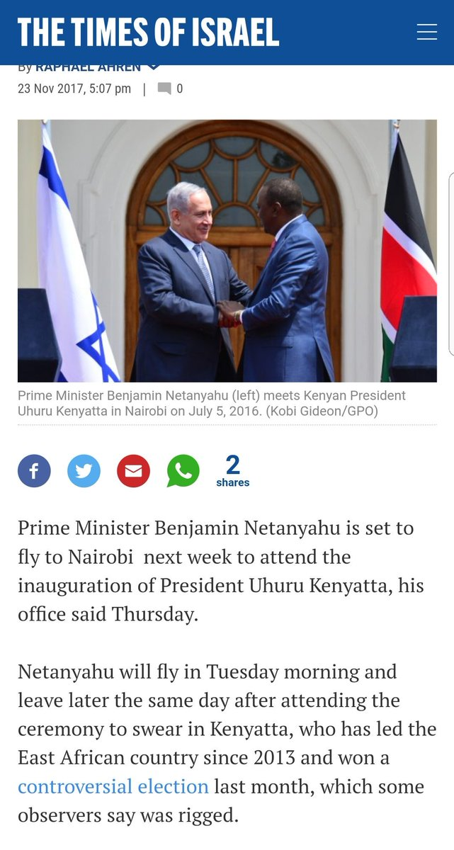 Israel PM @netanyahu congratulated @PresidentKE @UKenyatta on his re-election, invited him to Jerusalem for a State Visit and now he says he will attend his inauguration ....https://t.co/HqDQtnfOlK @AMB_A_Mohammed @TimesofIsraelFR