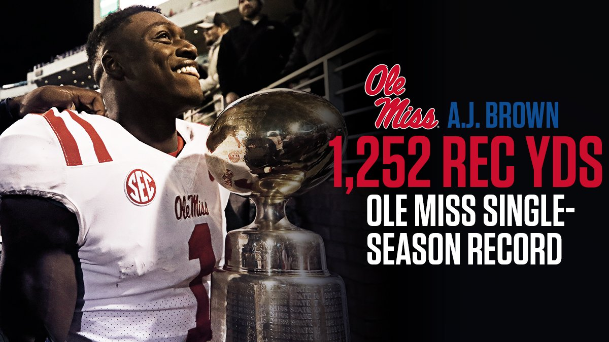 1,252 rec yds 75 receptions 11 TD  One of the best seasons by a WR in @OleMissFB history.