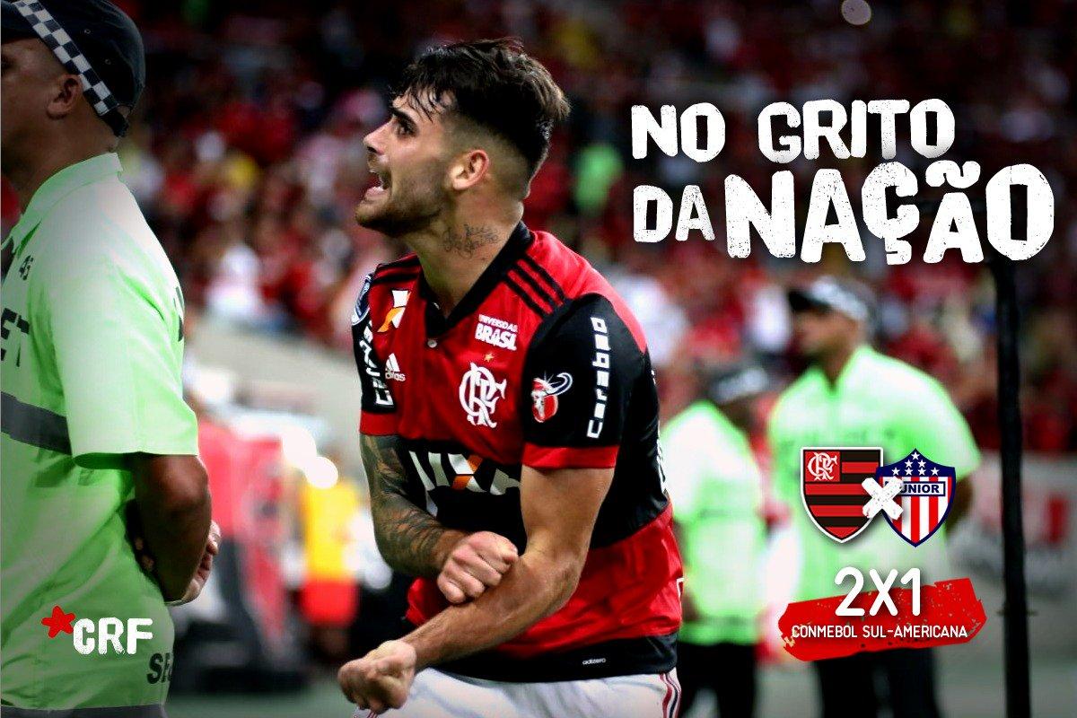 Com o Maracanã fervendo #NoGritoDaNação, Mengão vira pra cima do Júnior Barranquilla e larga na frente por uma vaga na final da Conmebol Sul-Americana: 2x1 #FLAXJUN