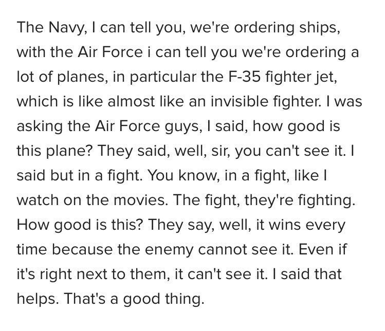 RT @AlamoOnTheRise: Add... This is part of what Trump just told the Coast Guard.   Oh. My. God. https://t.co/oMl4L3DodF
