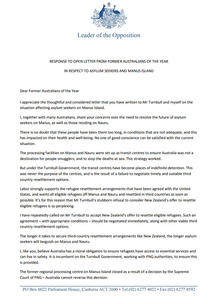 My response to the thoughtful letter from former Australians of the Year. @TurnbullMalcolm must act now to secure third country resettlement options so asylum seekers can leave Manus and Nauru.