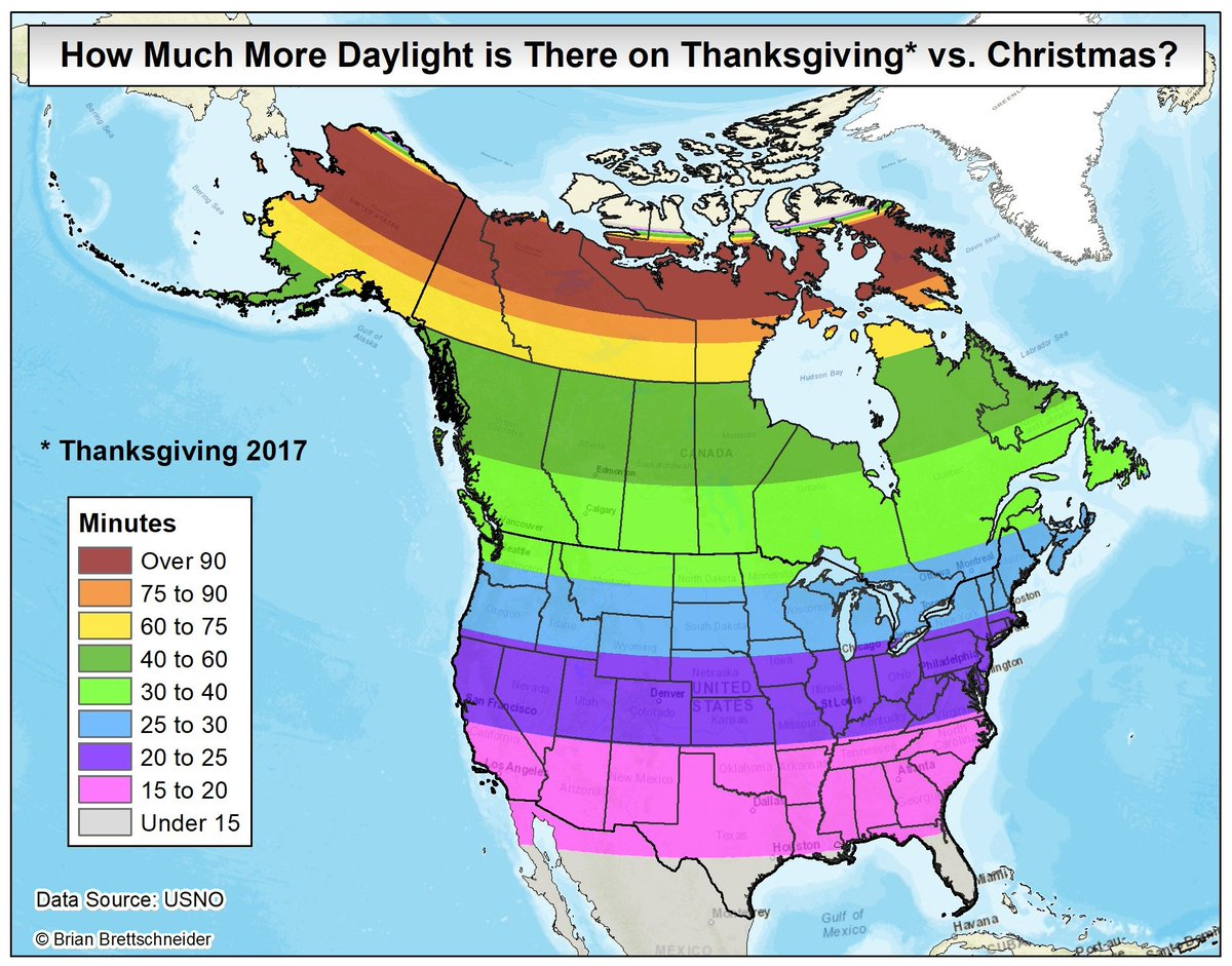 Map showing amount of daylight you will lose between today and Christmas Day. #YoureWelcome #Sad <br>http://pic.twitter.com/xprUW7TPXc