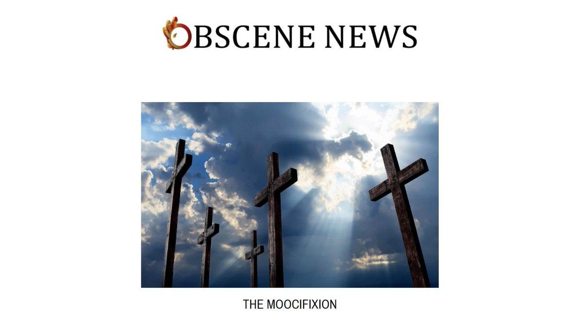 http://www. ObsceneNews.com  &nbsp;    Headline | November 24, 2017  #ObsceneNews #cow #cows #beef #dogie #freemartim #heifer #maverick #veal #yearling #bovine #crucifix #crucifixion #crucify #jesus #catholic #animaljesus #cross #stigmata #moo #moocifixion #son #theson #christian #christianity<br>http://pic.twitter.com/WmcxxTRRrJ