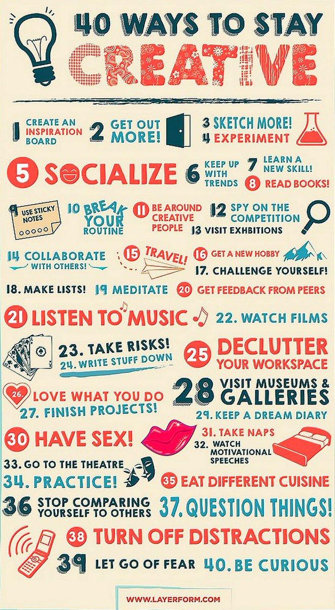 Growth Hacking: 40 Ways To Stay Creative #DigitalMarketing #makeyourownlane #defstar5 #digital #marketing #SMM #content #SEO #growthhacking #innovation #mgvip #contentmarketing #socialmediamarketing #business #startup #infographics #twitter280 #websoles<br>http://pic.twitter.com/4YuD4hV1ao