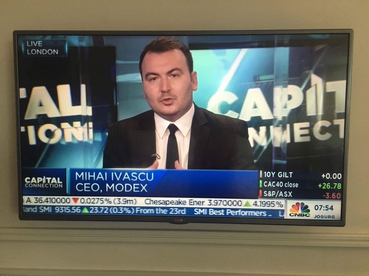 #CapitalConnection starting soon! Watch Modex&#39;s CEO Mihai Ivascu talk about the future of #Blockchain and smart contracts, live on @CNBC, with @cnbcSri! <br>http://pic.twitter.com/XFEPW18VKd